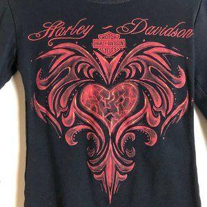 Harley-Davidson Black and Red 3/4 Sleeve Tee